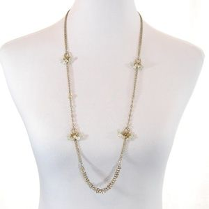 Jewelry - Long Metal Necklace with Beads